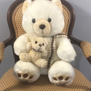 """Vintage plush bear with baby from Israel sits 11"""""""